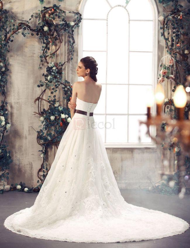❀ A-Line Sweetheart Lace Chapel Train Wedding Dresses | Riccol ❤