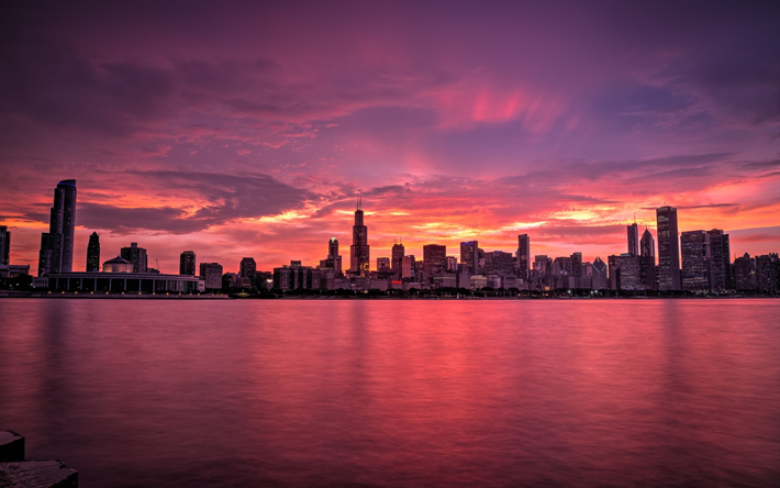 Download Wallpapers Chicago 4k Cityscapes Panorama Sunset Usa America Besthqwallpapers Com City Skyline City Wallpaper Cityscape