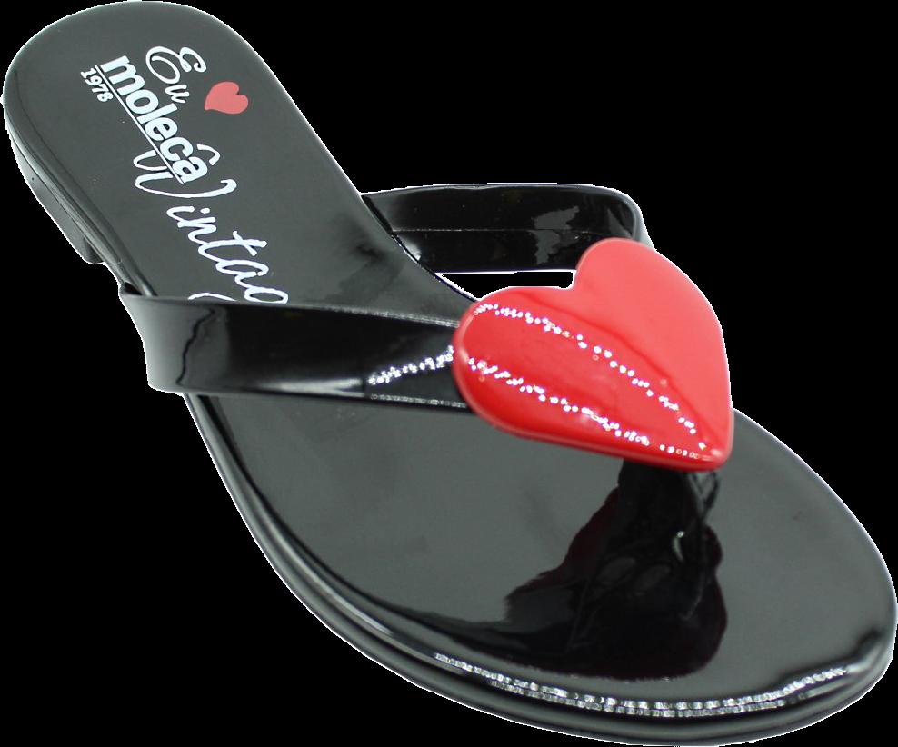 cd982f199 O Chinelo Moleca Verniz Vintage Coração Feminino é perfeito para você que  gosta de estar linda