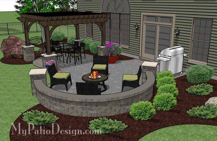 with colorful pavers the beautiful patio design with pergola - Beautiful Patio Ideas