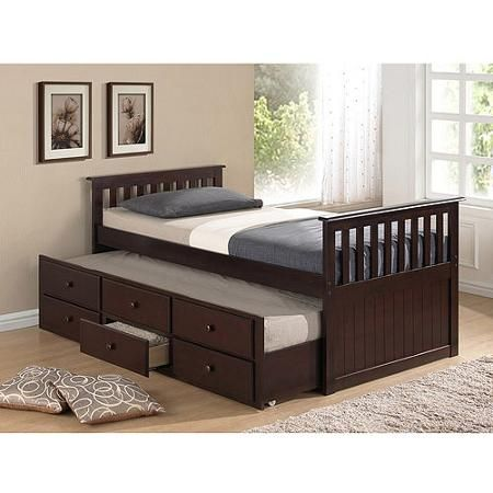 Broyhill Kids Marco Island Twin Captains Bed With Trundle And Storage Drawer Espresso Walmart Com Trundle Bed Bed With Drawers Captains Bed