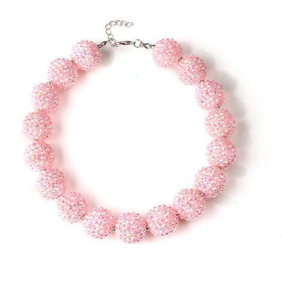 Girls pink rhinestone necklace - chunky rhinestone necklace - bubblegum