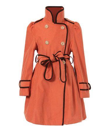 Another great find on #zulily! Orange Flared Trench Coat - Girls #zulilyfinds