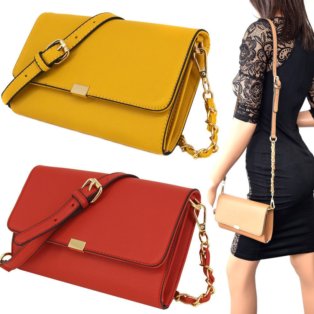 Women Crossbody Magnetic Mini Wallet Purse Messenger Clutch Bag Gold Metal  Chain dbc6adcdfa71e