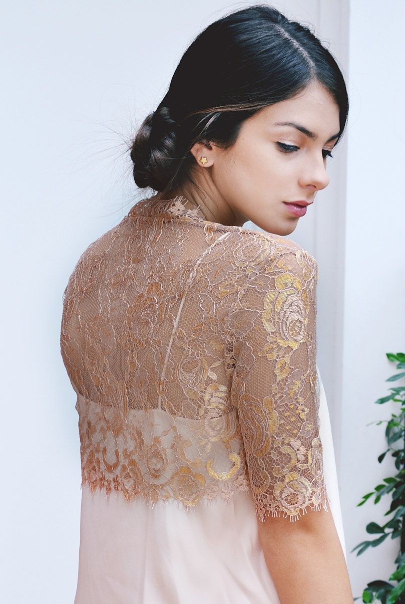 Roseline couture french lace bolero shrug rose gold. $320.00, via ...
