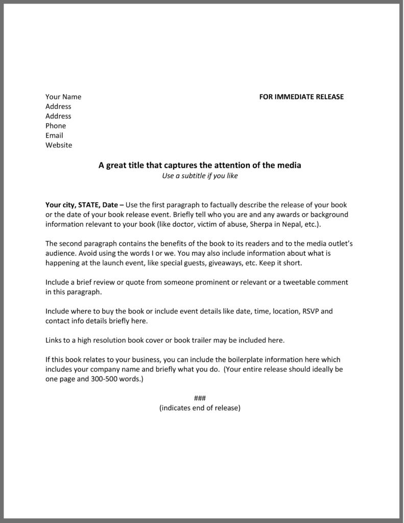 Press Release Template Press Release Template Film And Television Motivation Writing