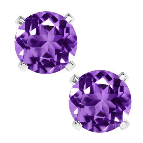 6.00MM Stud Earrings 1.50 Ct Purple Amethyst .925 Pure Silver BRAND NEW! #Stud