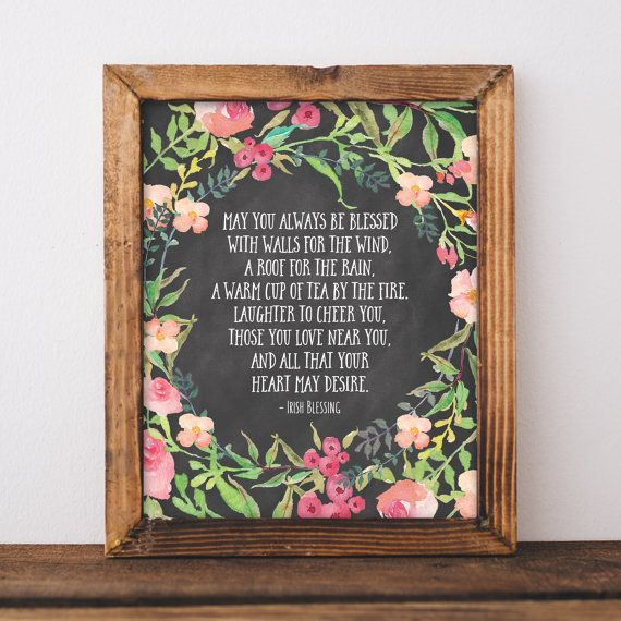Irish Blessing Print   Irish Blessing Quote   Chalkboard Print   New Home  Gift   Housewarming