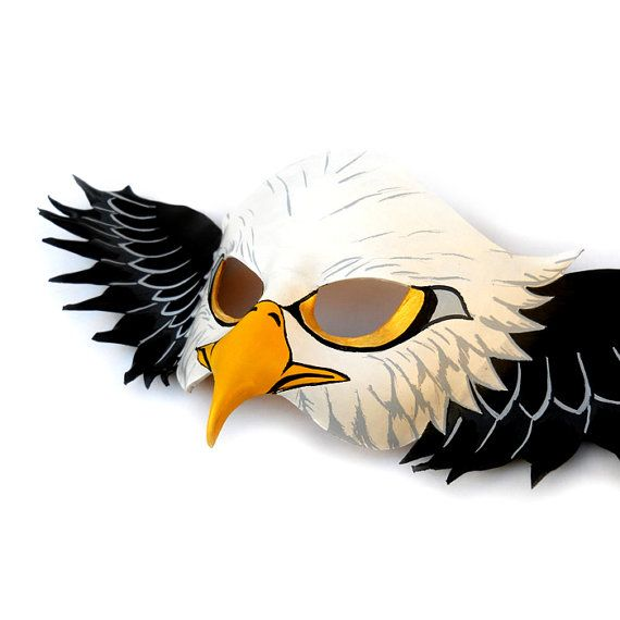 American Bald Eagle Leather Mask Halloween Animal Costume Creatures ...