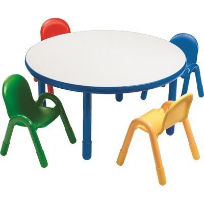 Angeles Baseline Preschool Kids 5 Piece Writing Table And Chair