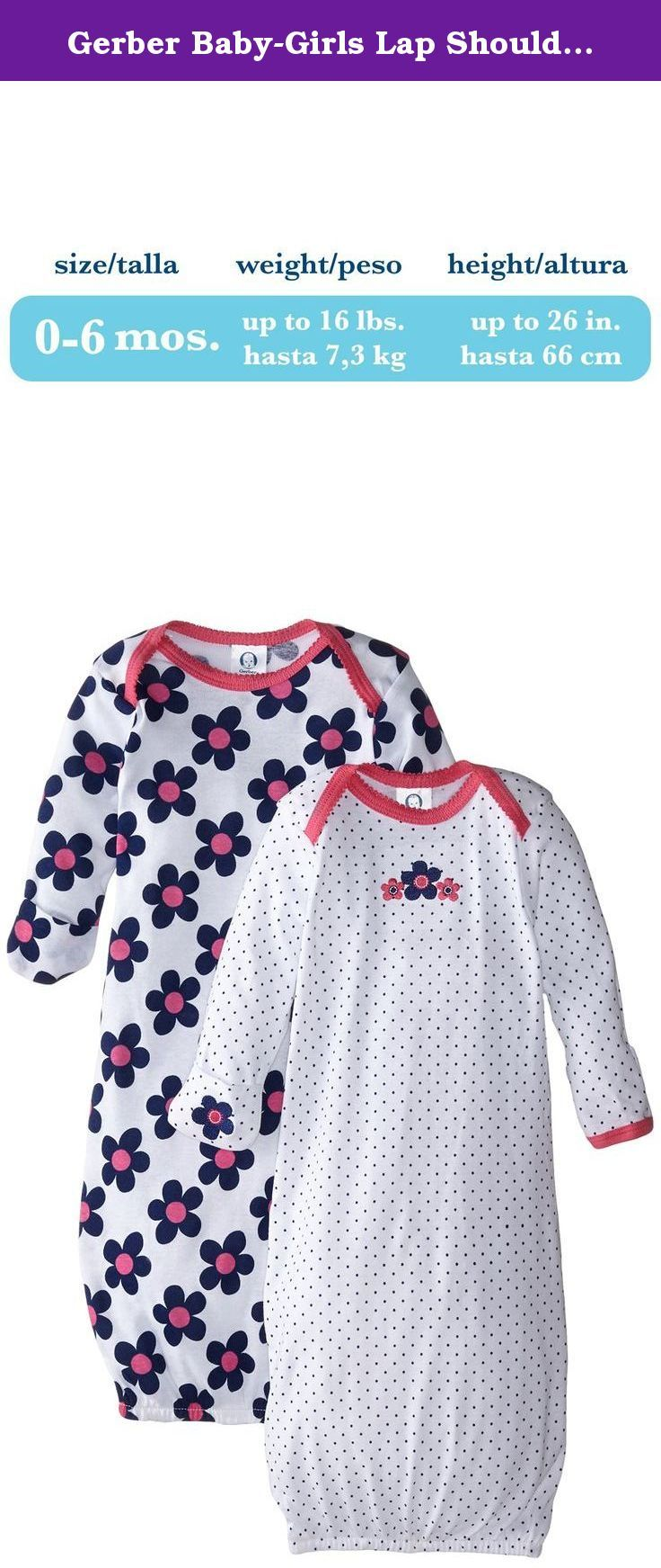 Gerber Baby-Girls Lap Shoulder Gown, Flowers, 0-6 Months (Pack of 2 ...