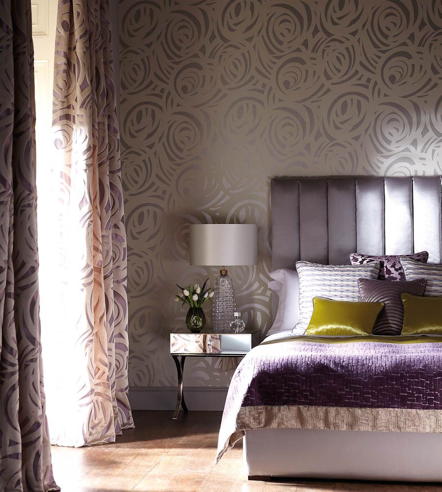 interior design classic metallics vortex wallpaper by