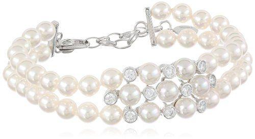 Majorica 2 Row Pearl Cubic Zirconia Bracelet 7 5 Http