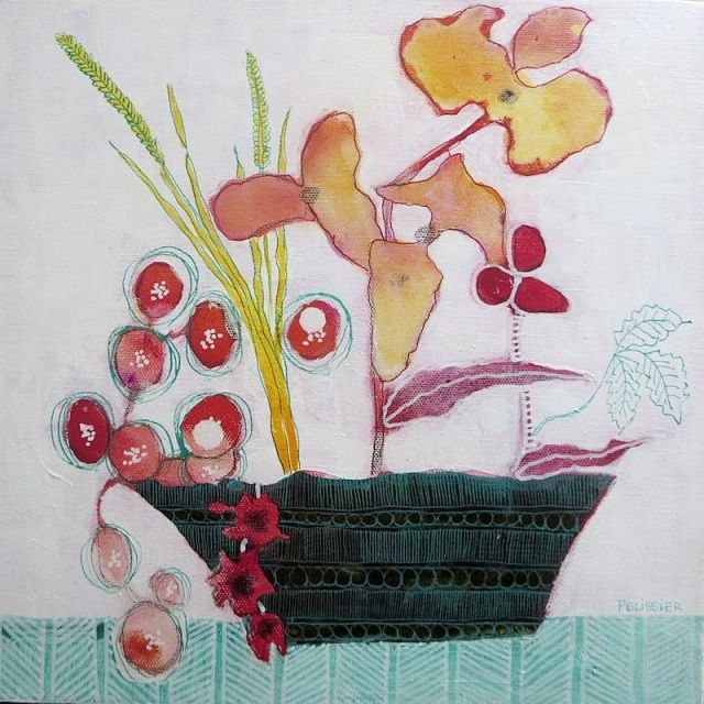 A selection of whimsical flowers paintings with added designs and patterns by Canadian Artist Sandrine Pelissier