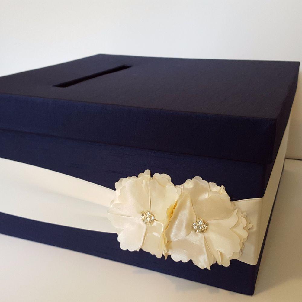 Satin wedding card box with royal blue flower and rhinestone mesh trim - Navy Blue Wedding Card Box