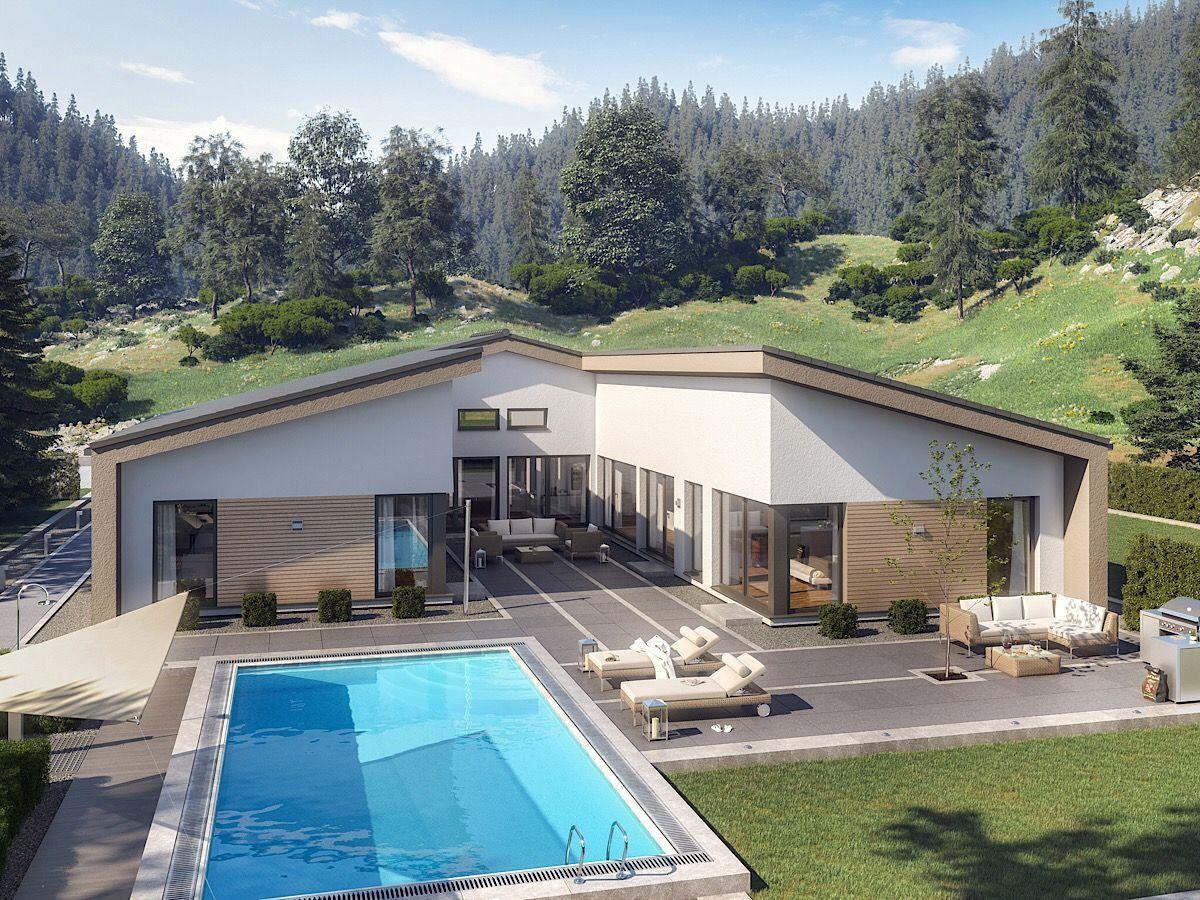 Bungalow Haus Modern Mit Satteldach Innenhof 5 Zimmer Grundriss