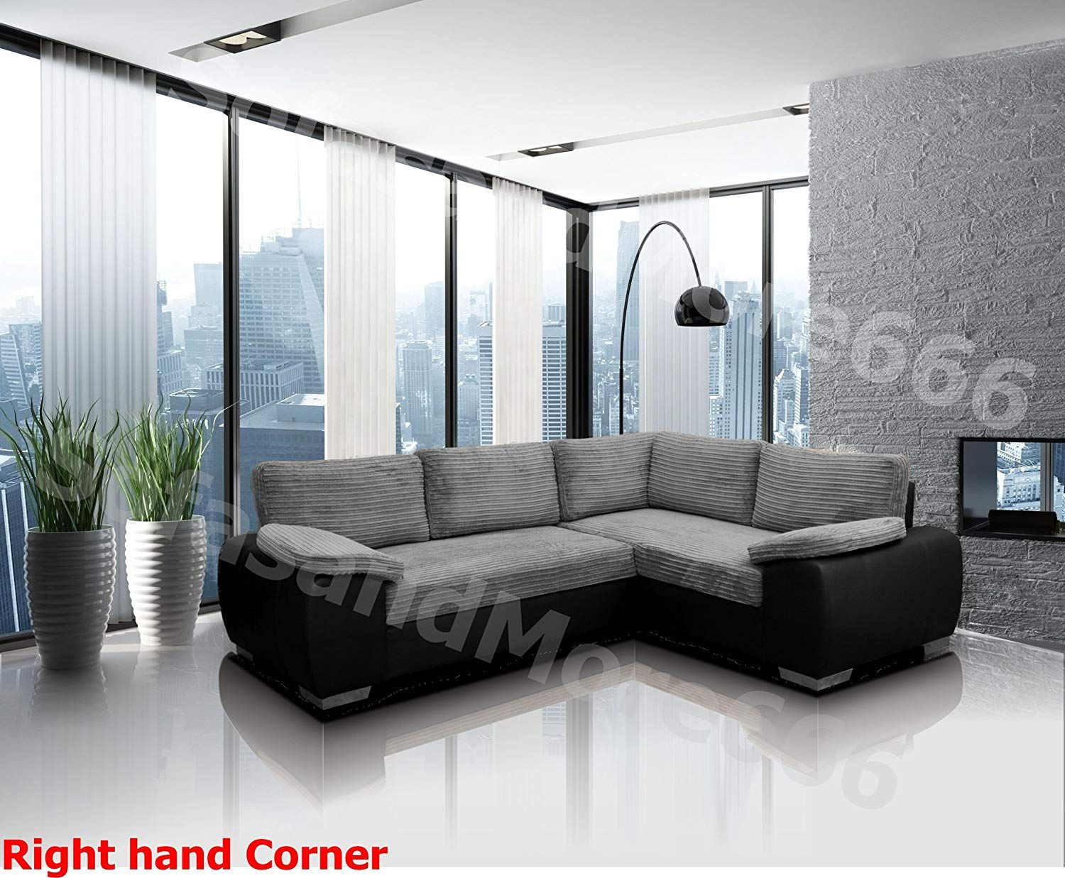 Enzo Corner Sofa Bed With Storage Jumbo Cord Fabric Leather Right Hand Side Orientation Corner Sofa Bed With Storage Leather Corner Sofa Corner Sofa Bed