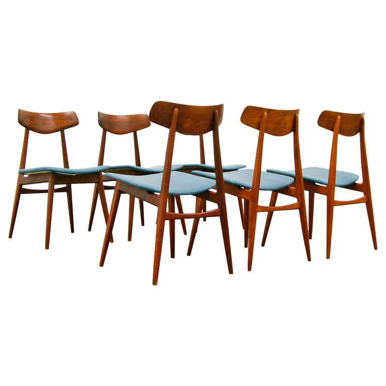 Six Dining Chairs By Habeo Germany In Teak And Leather 1950s