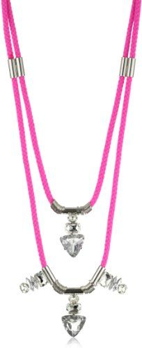 nOir %22Jaipur%22 Hot Pink and Silver 2 Tier Necklace