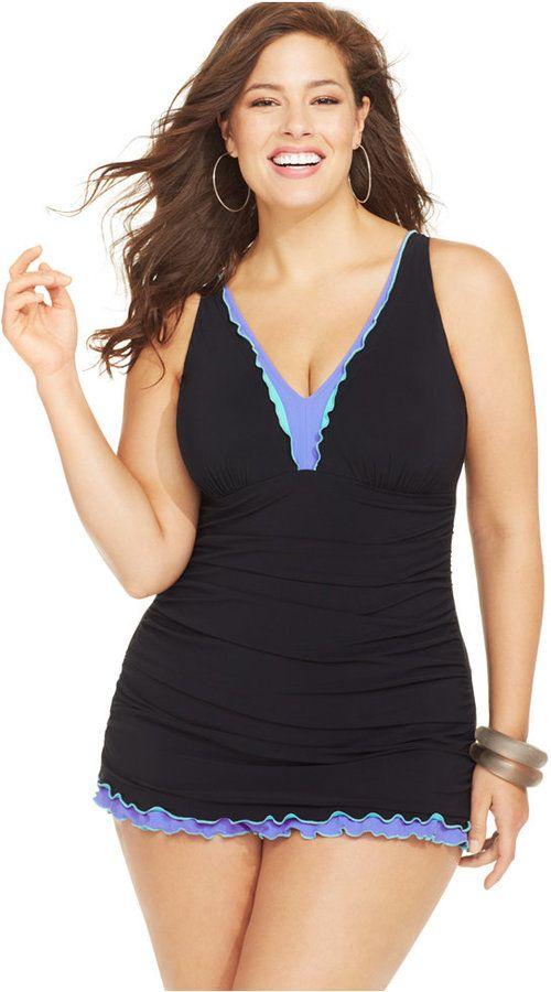 44586c3b913 Profile by Gottex Plus Size Ruffled Halter One-Piece Swimdress ...