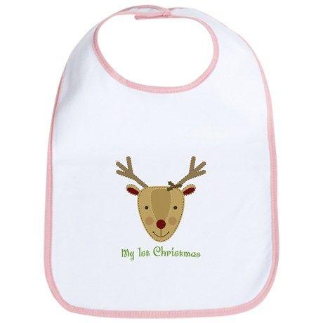 1st Christmas Reindeer Bib