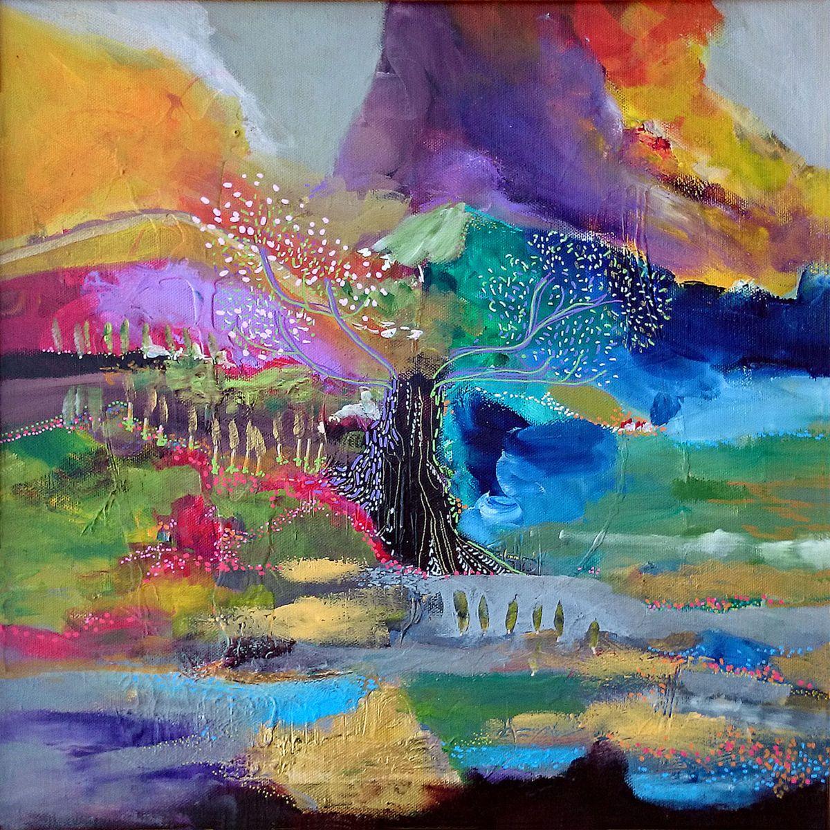 L 39 Arbre Monde Peinture 40x40 Cm Par Philippe Abril Acrylique Et Posca Sur Toile Affiche Artistique Les Arts Comment Peindre