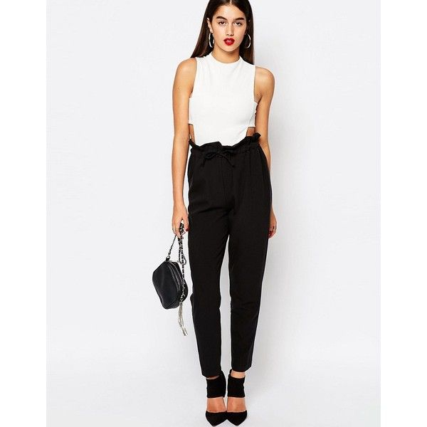 Missguided Paperbag Waist Tapered Trousers ($30) ❤ liked on Polyvore  featuring pants, black