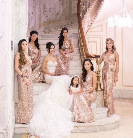 Metallic Bridesmaid Dresses