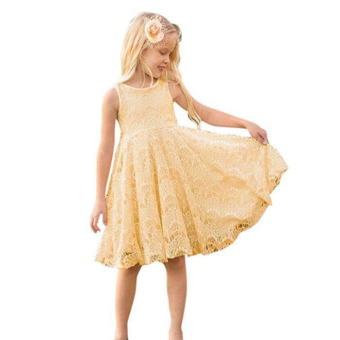 ochine ワンピース 女の子 フォーマルドレス 子供洋服 黄色い ノースリーブ ガールズ ドレス バックレスドレス レース お出かけ 子供の日 入園式 文化祭 七三五 女の子 ワンピース バックレスドレス ドレス レース
