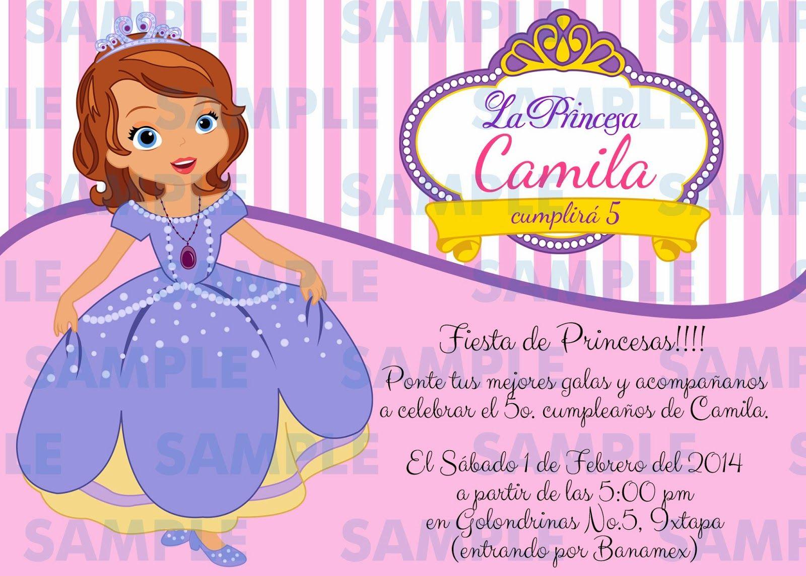 Tarjetas De Invitacion A Cumpleaños De La Princesa Sofia