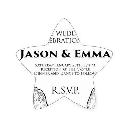 Roses Wedding Invite Invitation Template Star Sticker - wedding