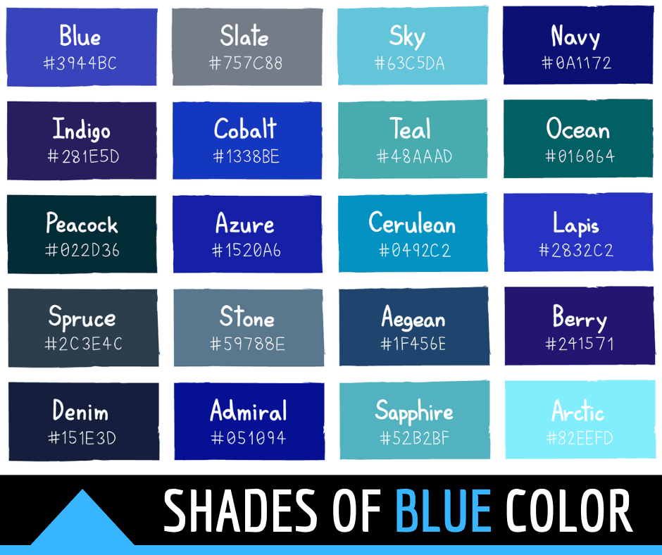 44 Shades Of Blue Color With Names And Html Hex Rgb Codes In 2020 Blue Shades Colors Blue Color Hex Rgb Color Codes