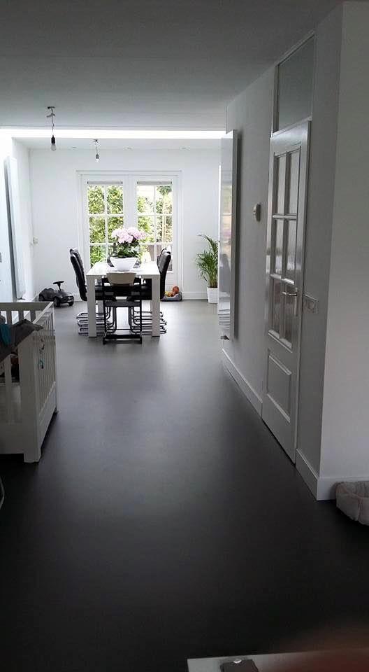 PU Gietvloer Muisgrijs in woonkamer | Gietvloeren | Pinterest