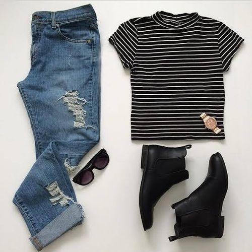 Look tenue jean destroy boyfriend t shirt rayure noir blanc bottines plates outfits - Tenue jean blanc ...