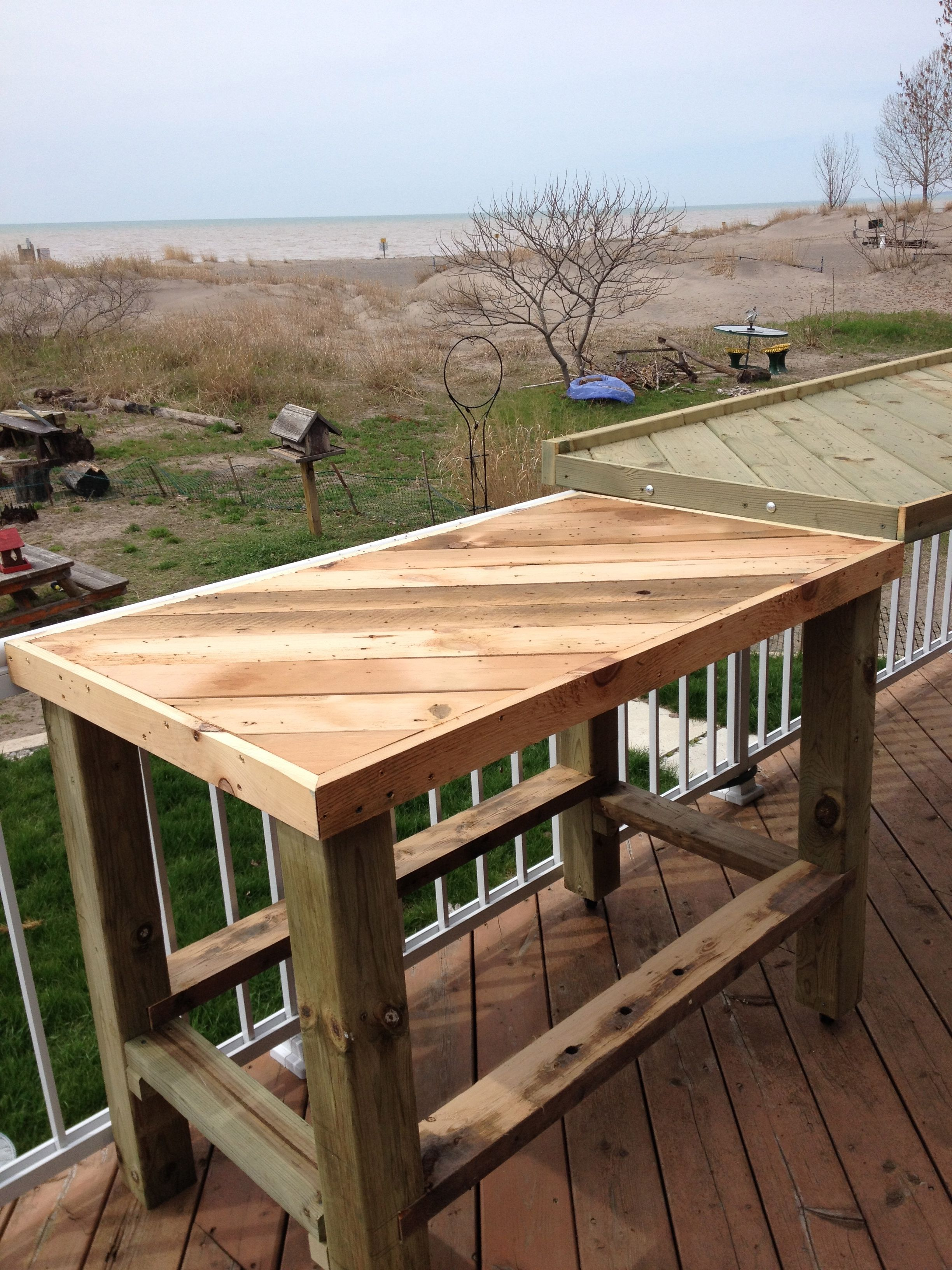 Side table for beach front bistro in port stanely on lake erie