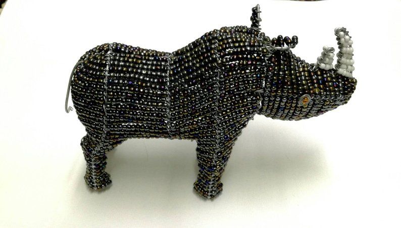 Wedding Gifts 2 Carved Ebony Wood beads structures and 1 bead and wire Animal African Masaai Couples and Colourful Beaded Rhino giftset