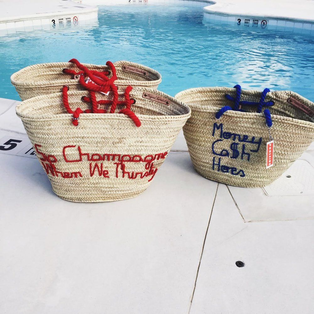 Poolside bags for poolside lifestyle. An unexpected weekend tote. Handmade  straw bags featuring daintily embroidered rap lyrics.  Please allow 7-10 days for shipping your Poolside Bag.  Please click herefor custom orders.