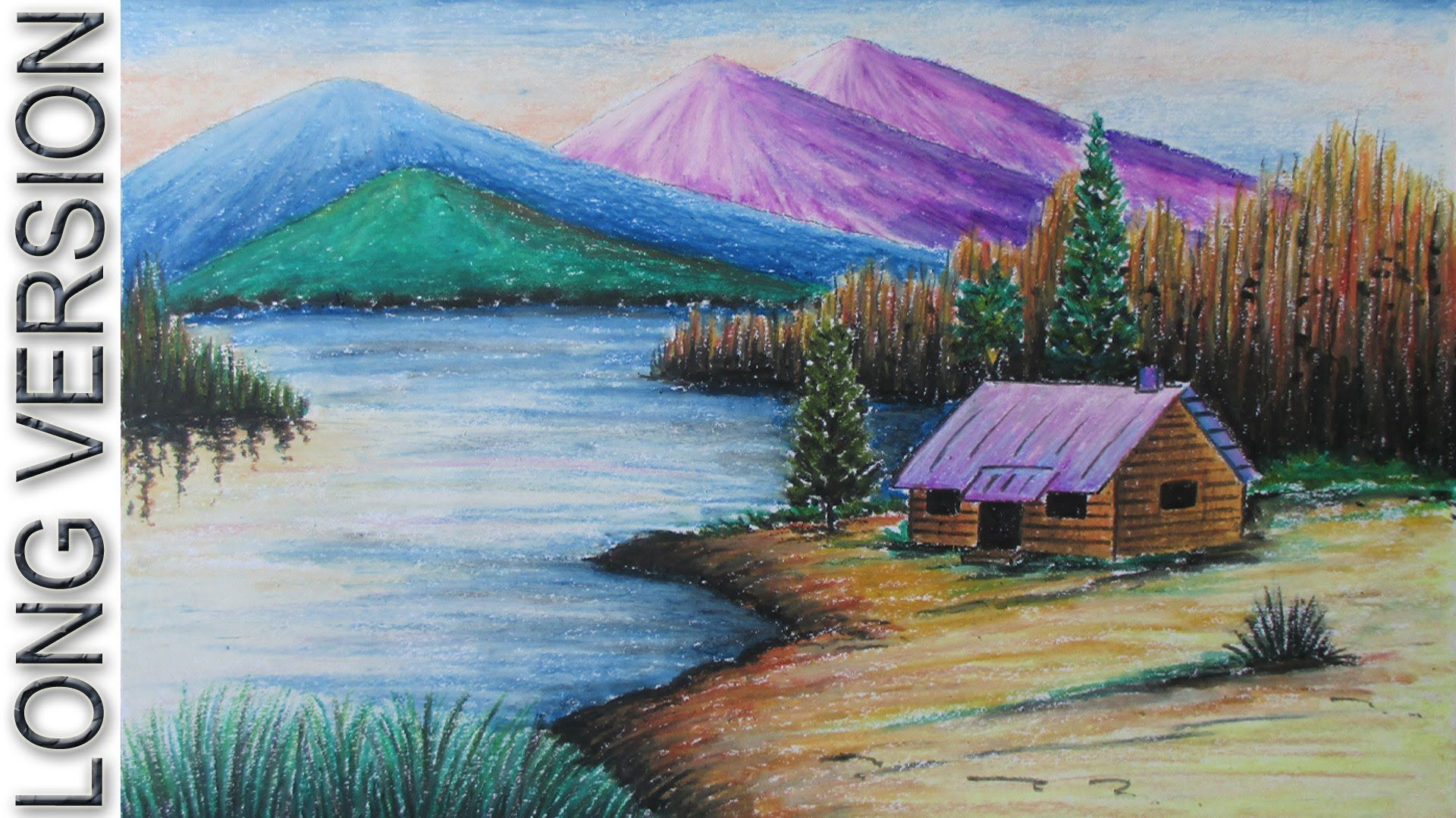How To Draw A Mountain Landscape With Oil Pastel Long Version Drawing Scenery Oil Pastel Landscape Landscape Drawings