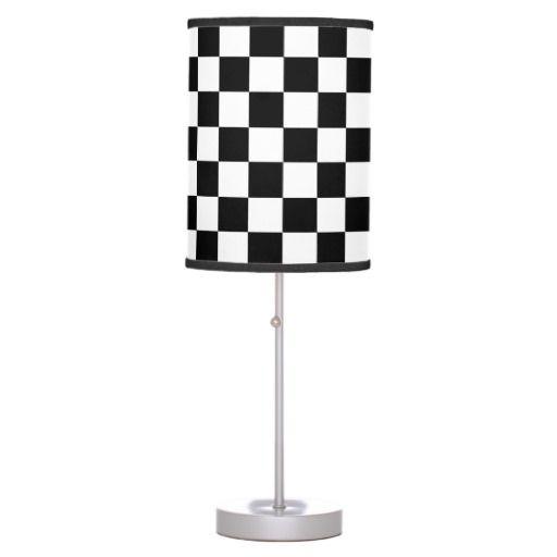 Black And White Checkered Lamp Zazzle Com White Lamp Shade