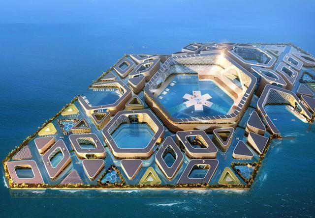 AT Design Office, han pensado en una ciudad entera, sostenida en medio del océano, como una isla urbana artificial de unos 10 kilómetros cuadrados. La superficie, conectada por túneles subacuáticos, estaría cubierta por módulos hexagonales que harían las veces de habitáculos.