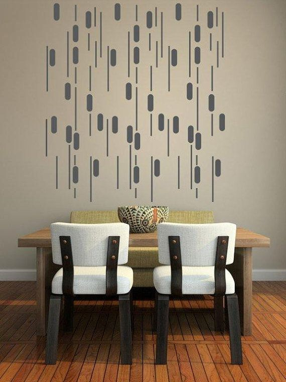 Wall Decals Rain Geometric Abstract Lines Pattern Mural Modern - Vinyl wall decals abstract