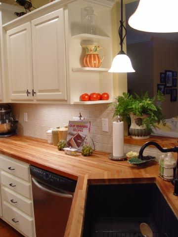 Cream Cabinets With Cherry Butcher Block Counters Cream Cabinets Butcher Block Countertops Kitchen Butcher Block Counter