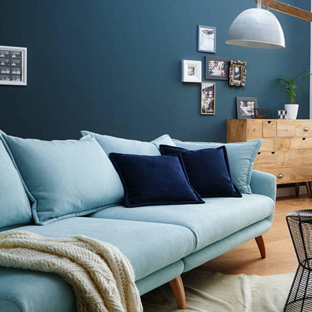 Grosses Sofa Hellblau Inklusive 3 Ruckenkissen 2 Langlichen