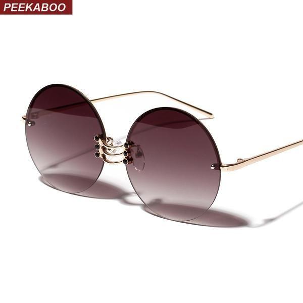 Peekaboo Metal Round Sunglasses Women Retro Vintage Summer Frameless Sun Glasses Big Frame Male 2019 Uv400 Gold Metal
