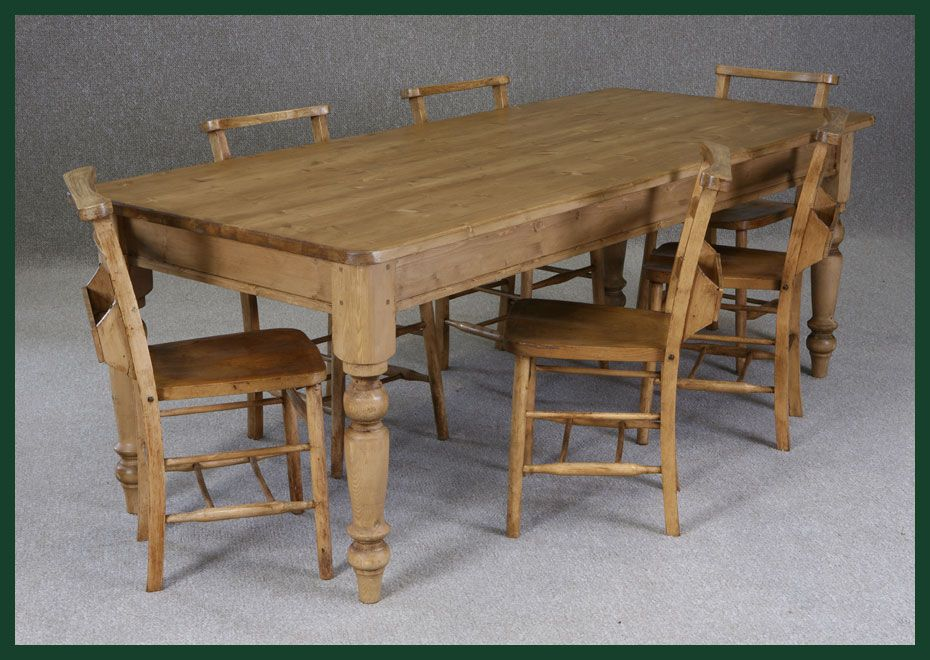 Victorian Pine Dining Table And Chapel Chairs Kitchen Dining Room