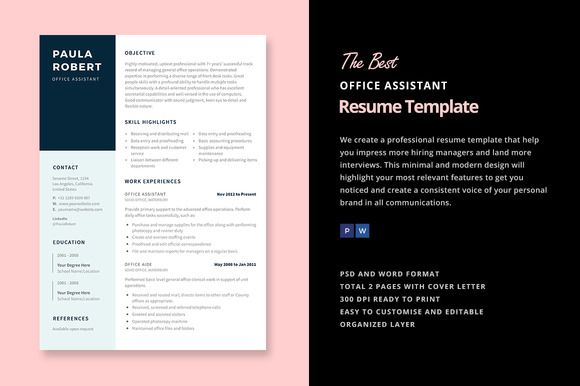 Office Assistant Resume Template Creativework  Templates
