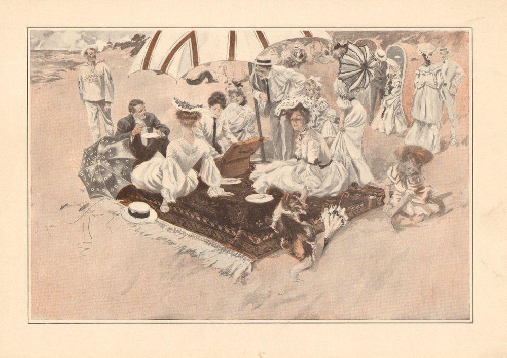 Harrison Fisher, Picnic On The Beach, Collie Dog Vintage, 1908 Antique Art Print #Vintage