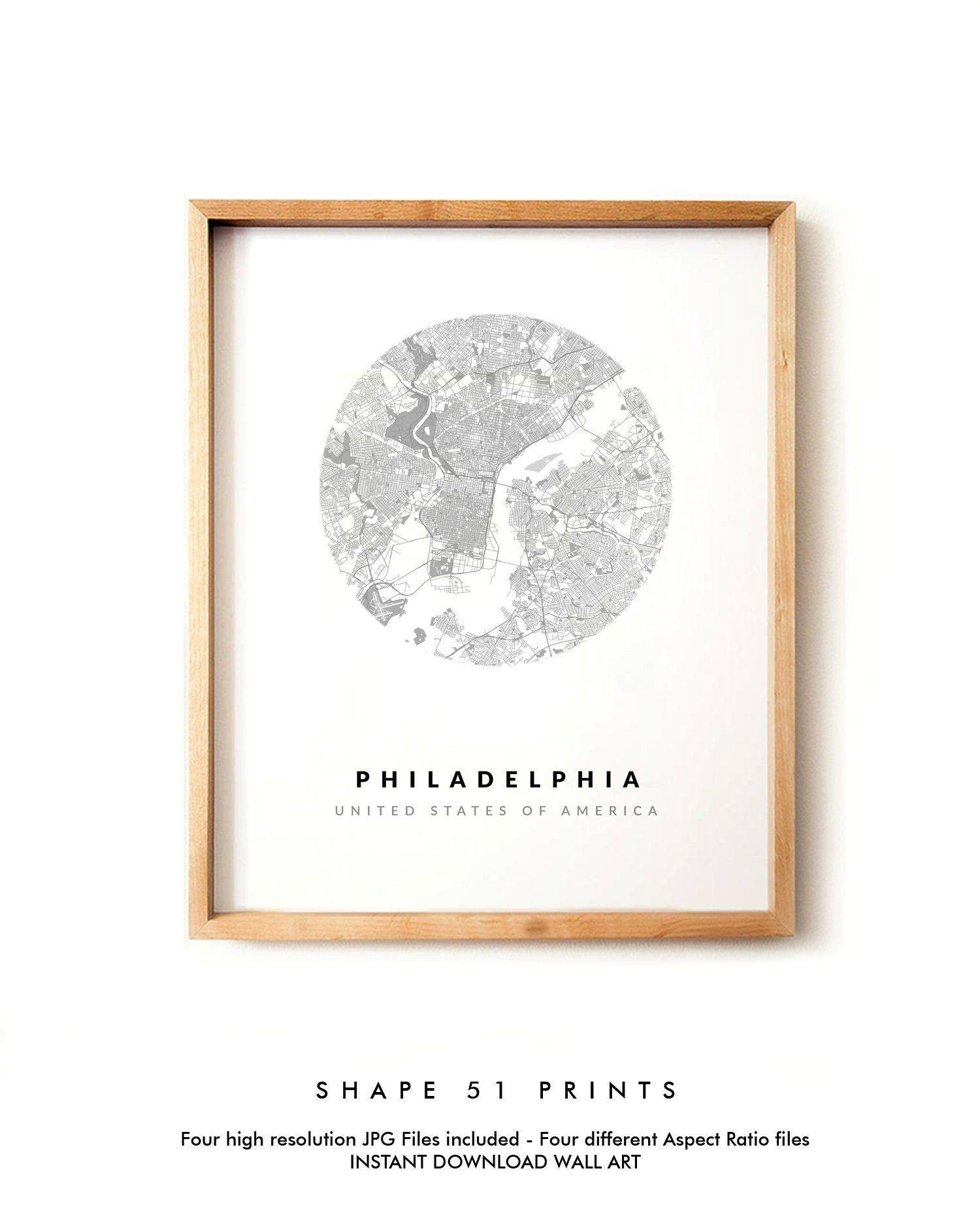 Philadelphia city map, USA map, Printable Map, Map wall art ...
