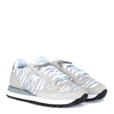 Laterale Sneaker Saucony Jazz Limited Edition suede grigio e tessuto zebrato d699539822b