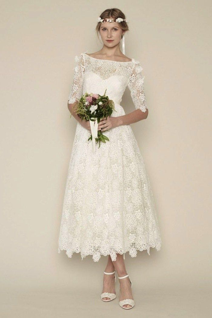 Tea length wedding dresses for classic style rue de for Shoes for tea length wedding dress